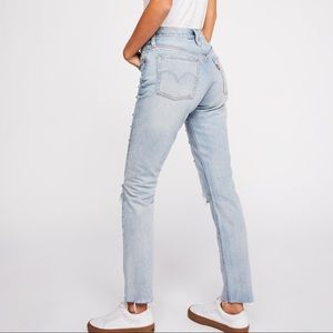 Levi's 501 light wash button fly high rise jeans